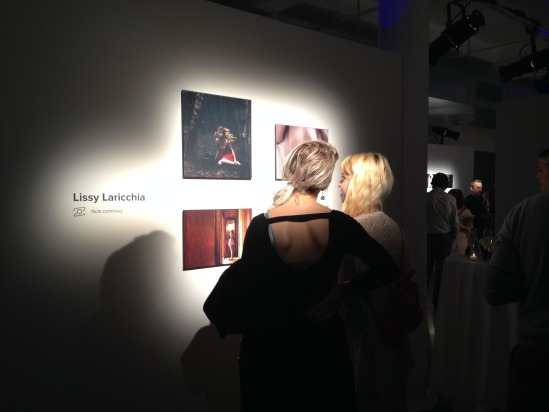 Lissy and a friend chatting at the show—such distinctive lighting!